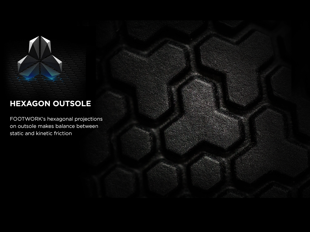 FOOTWORK's hexagonal projections on outsole makes balance between static and kinetic friction.