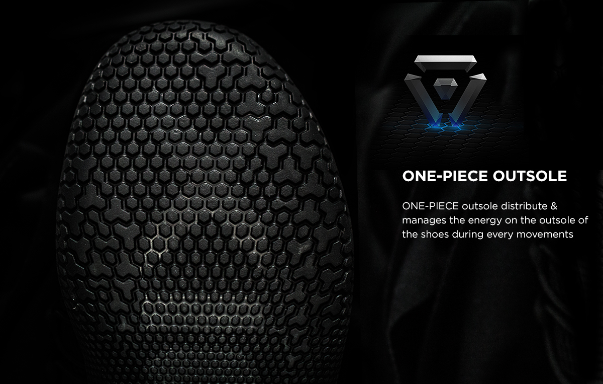ONE-PIECE outsole distribute &  manages   the energy on the outsole  of the shoe during every movements